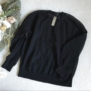 J. Crew Black Mesh Long Sleeve Sz M